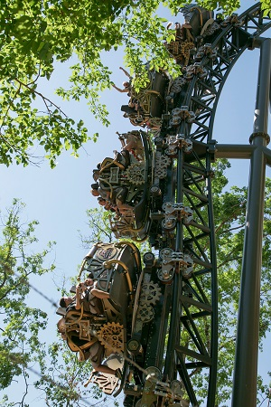 The Time Traveler ride at Silver Dollar City drop view