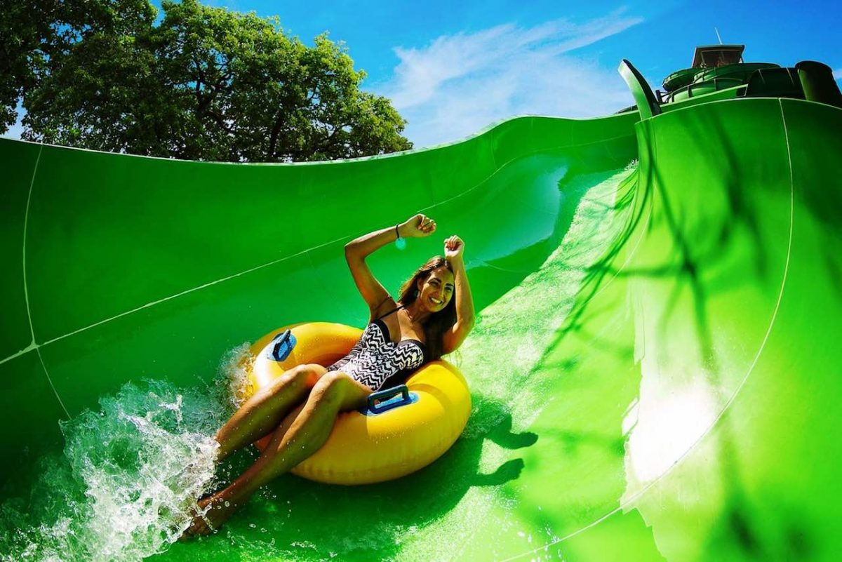 girl on whitewater raft slide
