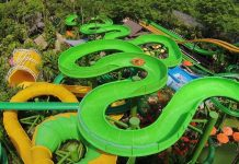 green waterslide at bali-waterbom whitewater west x