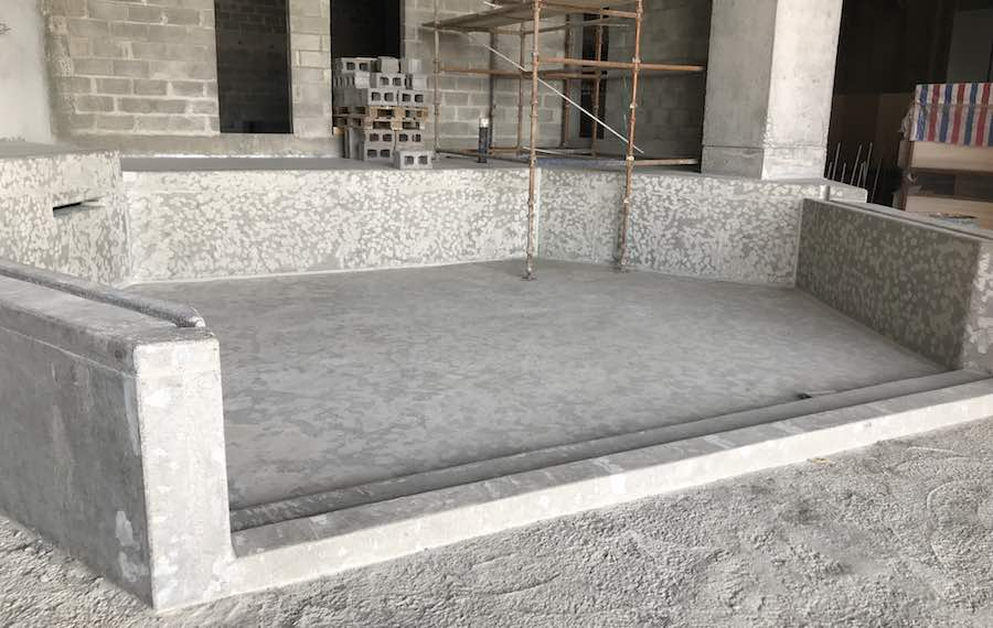 Turtle tank ready for waterproofing at oman aquarium