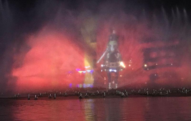 figure on horseback at nanhu light and water show
