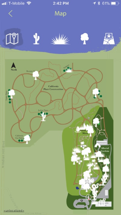 Rancho Santa Ana Botanic Garden Mobile Tour interactive map