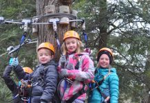 three kids at treetop eco adventure park children's course toronto
