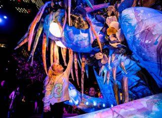 The Liminal Hour giant puppet at vivid sydney 2018 christie widget designer