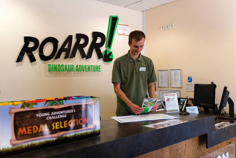 ROARR dinosaur adventure entrance desk