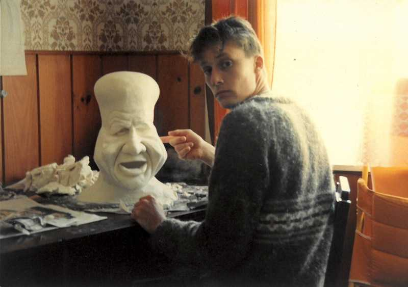Richard Taylor with a margarine sculpture made for the TV series Public Eye
