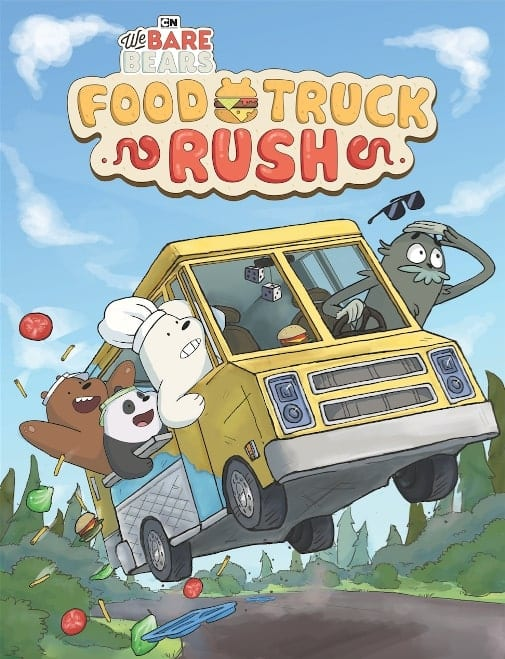 we bare bears grizz, ice bear and panda in food truck