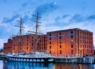 Twilight photo of the Merseyside Maritime Museum at Liverpool Light Night