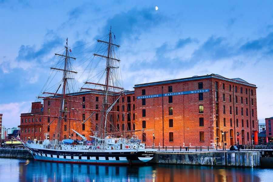 Twilight photo of the Merseyside Maritime Museum at Liverpool Light Night