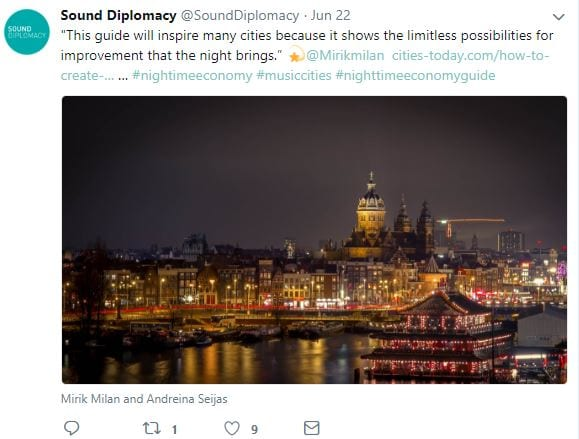 Tweet from Sound Diplomacy about their Nightime Economy Guide