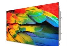 christie LED display showing colourful feathers at infocomm india