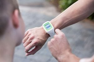 An accesso wrist wearable product on a user
