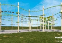 ropetopia curves, new ropes course innovation by walltopia