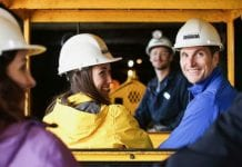 guests in hard hats at Britannia Mine Museum