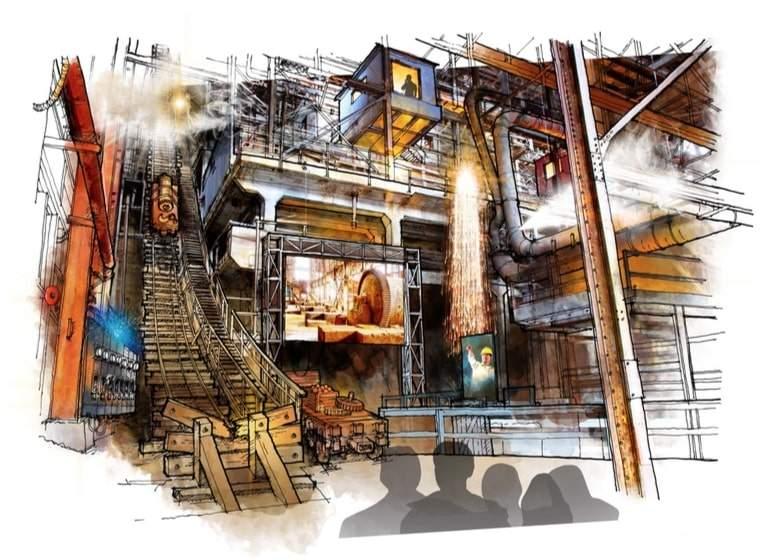 concept design for Britannia Mine Museum Mill show experience