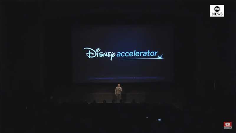 Bob Iger speaks on stage at the Disney Accelerator programme