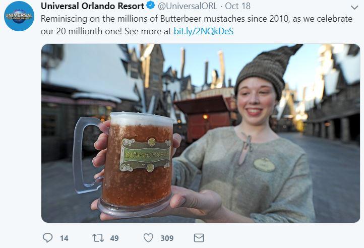 Universal Orlando butterbeers tweet
