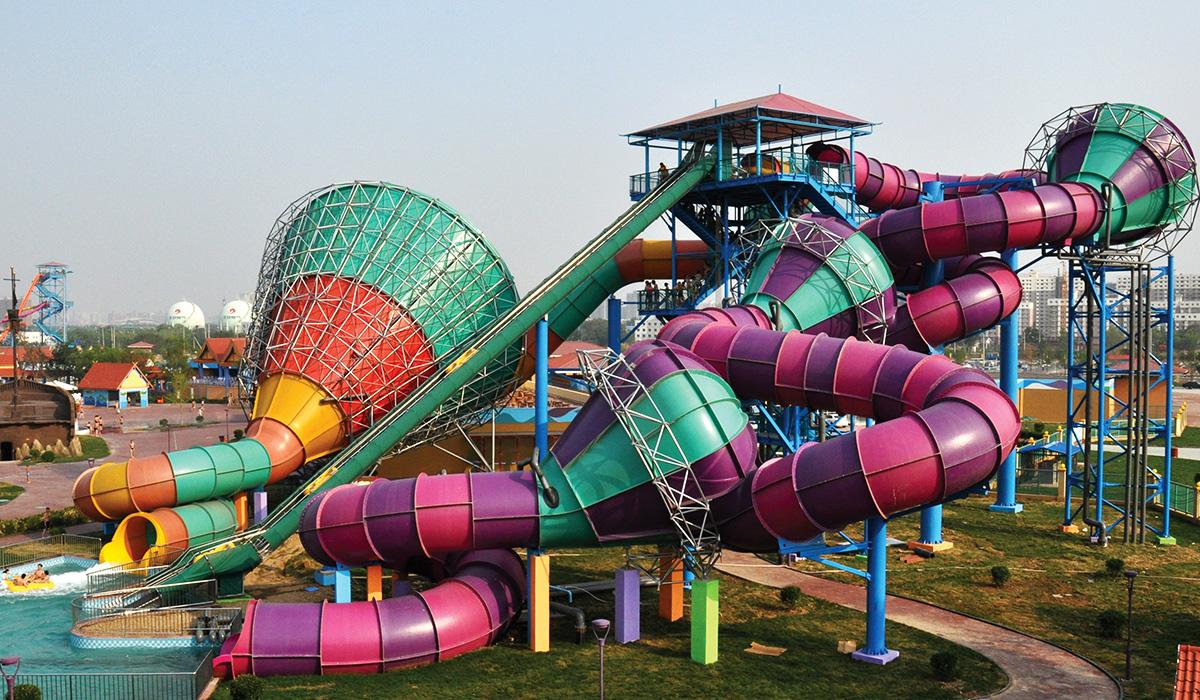 Landscape image of custom water slide complex