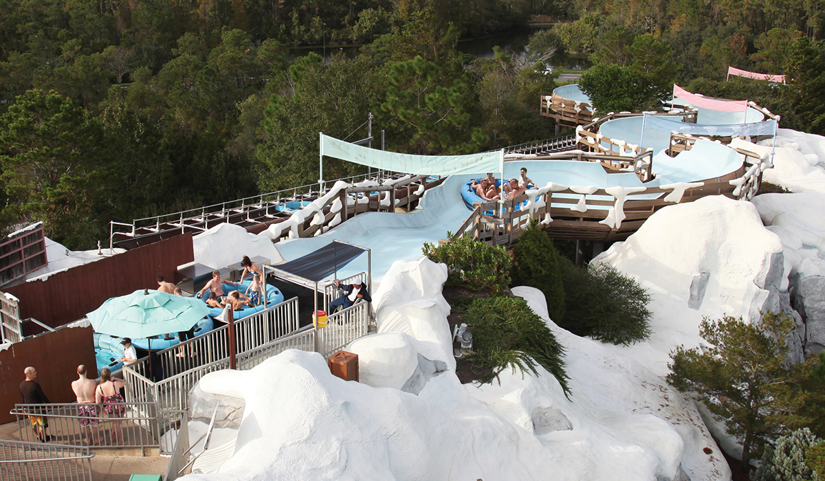 Arial view of the Mammoth ride at Blizzard Beach