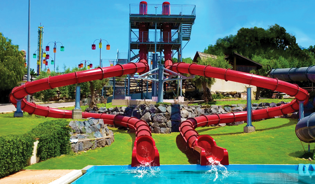 Landscape image of two red looping superloop water slides