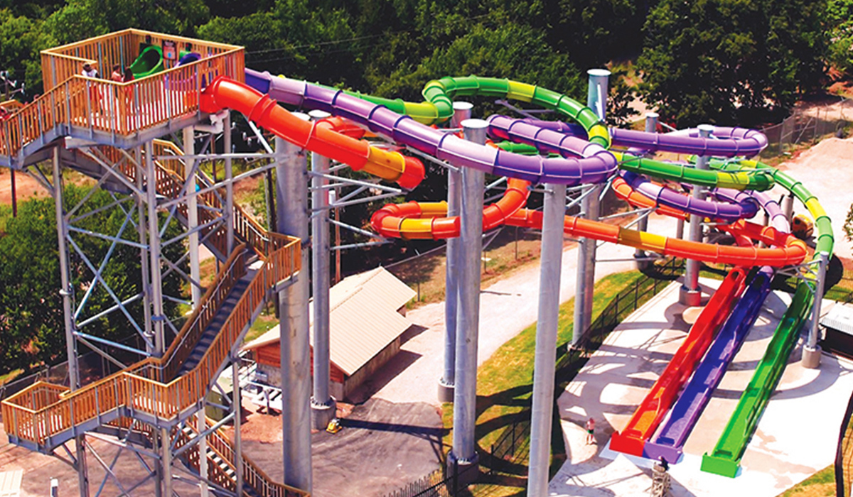Arial view of three looping water slides