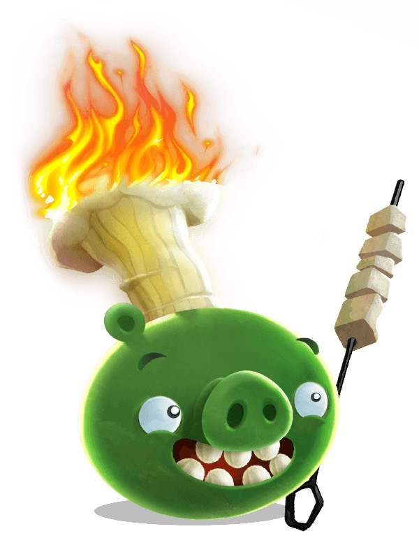 rovio pig with flame angry birds rovio