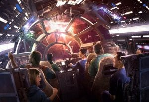 Millennium Falcon ride nterior star wars galaxys edge