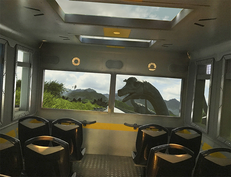 Simworx's Immerisve Adventurer Dinosaur theme with lush green view and dinosaur out windows