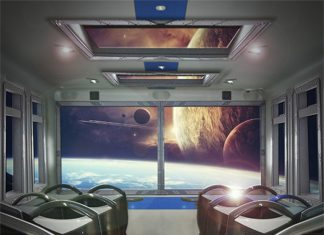 Simworx Immersive Adventurer Ride with outerspace film on windows