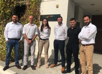 Digital Projection's Middle East team, left to right: Abdulrahman Aladawi, Keith Manning, Kharlie Manning, Matt Horwood, Tyran Carsten, Rayan Soumsom