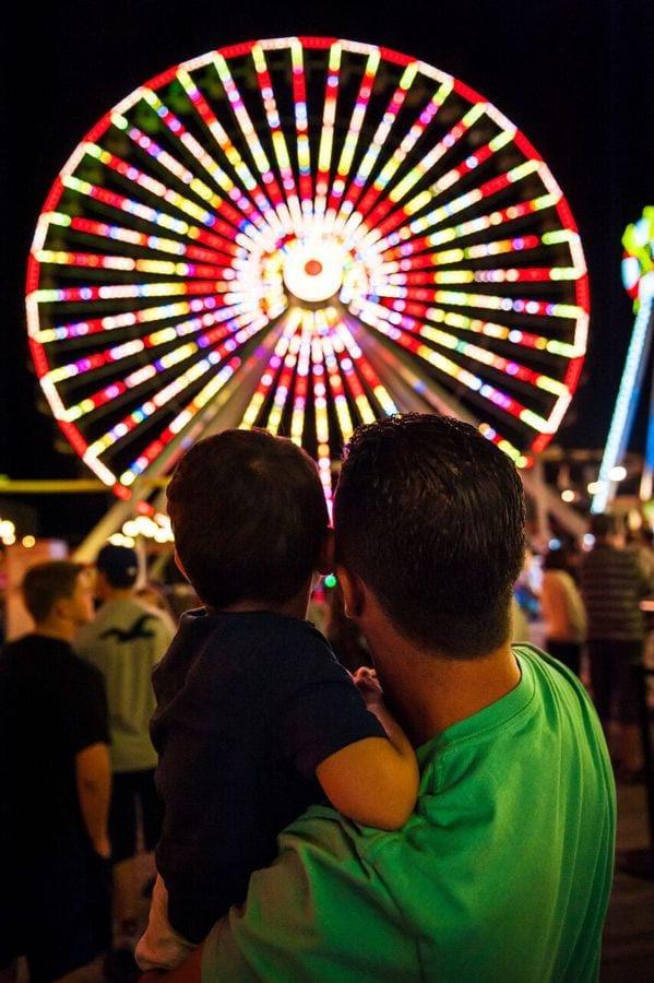 Father and son looking at the Giant Wheel at Morey's Piers