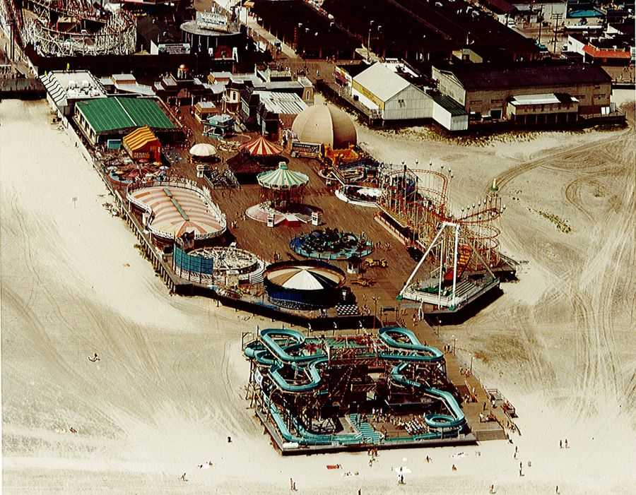 Overhead view Mariner's Pier at Morey's Piers, seaside amusement park