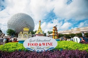 Epcot International Food and Wine Festival 2018 Entrance Signage Epcot World Showcase seasonal festivals