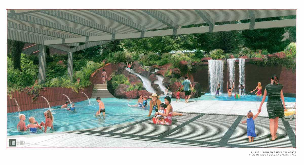 Kids pool at new aquatic area Glenwood Hot Springs rendering by DHM Design