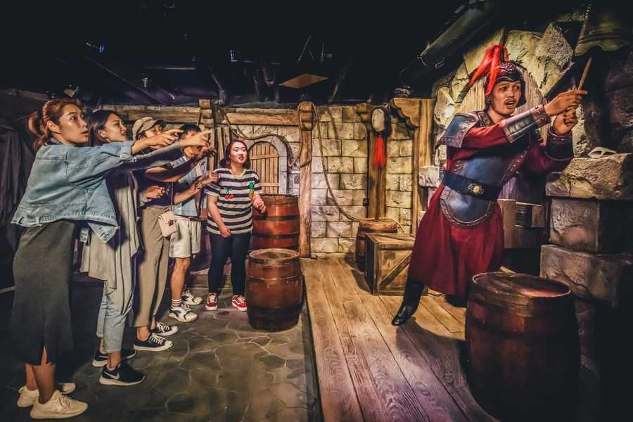 Guests interacting with actor inside The Shanghai Dungeon
