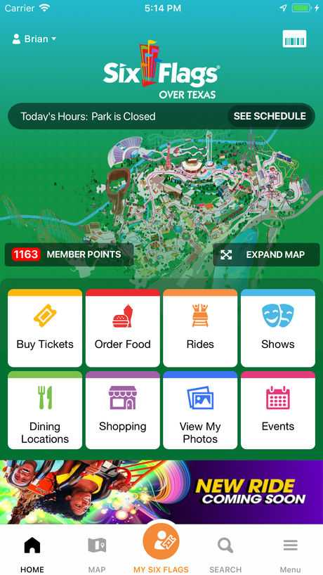 Six Flags mobile food ordering app