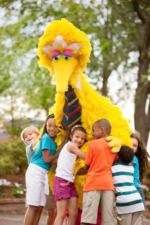 6 children hugging Big Bird at SeaWorld Orlando