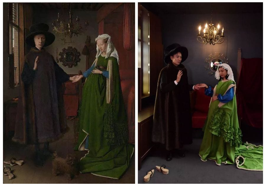 Actual painting and actors portraying The Arnolfini Portrait at The National Gallery pop up experience in Guangzhou