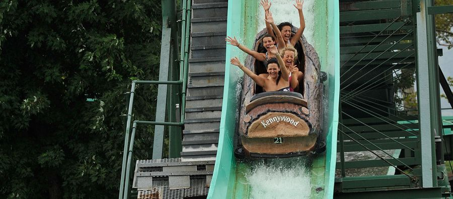 Guests on Kennywood's Log Jammer, water rides