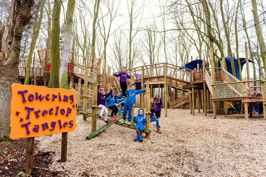 BeWILDerwood Children playing at Towering Treetop Tangles