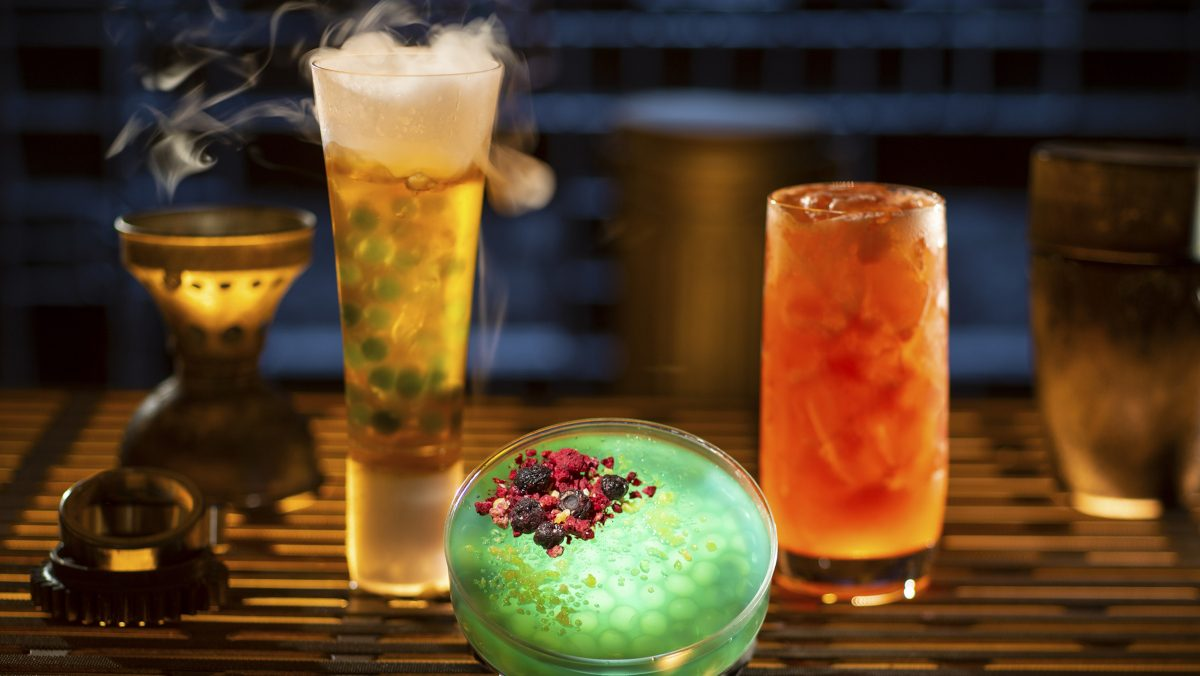 Left to right, non-alcoholic drinks: Carbon Freeze, Oga's Obsession provision, and Cliff Dweller, available at Oga's Cantina. (Kent Phillips/Disney Parks)