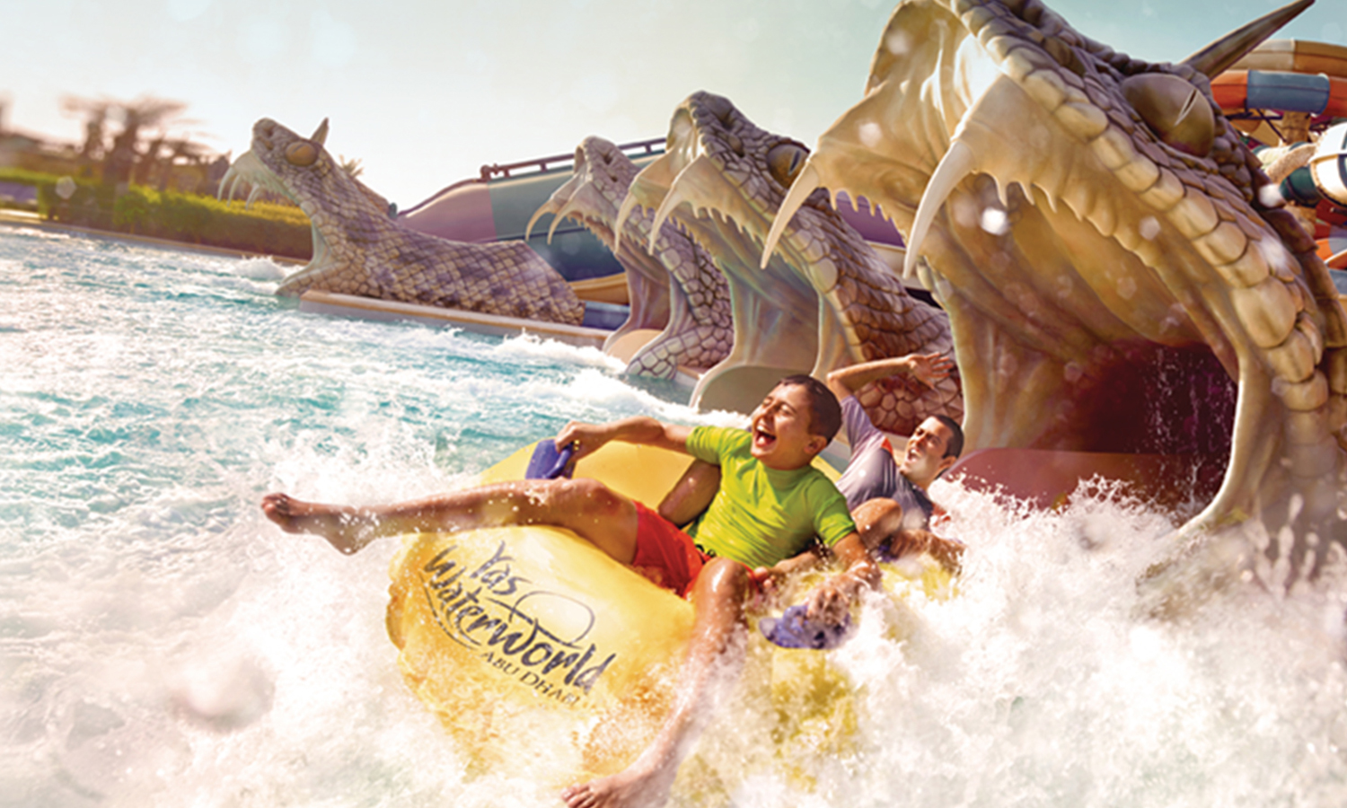 yas waterworld kids on snake waterslide