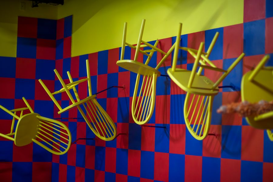 Meow Wolf dark ride Kaleidoscape floating chairs