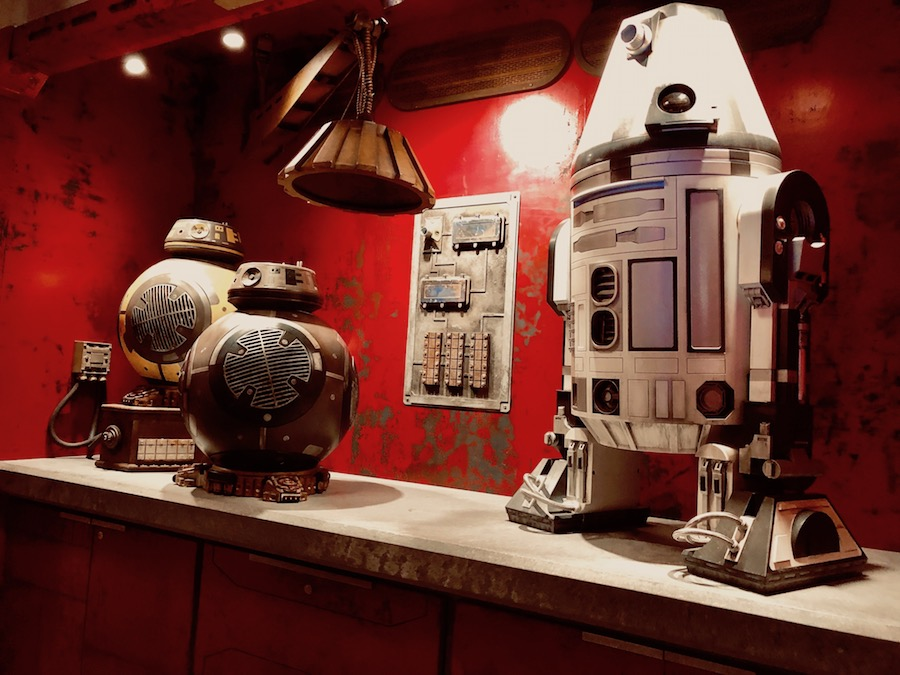 Droids on display at the Droid Depot star wars galaxys edge photos