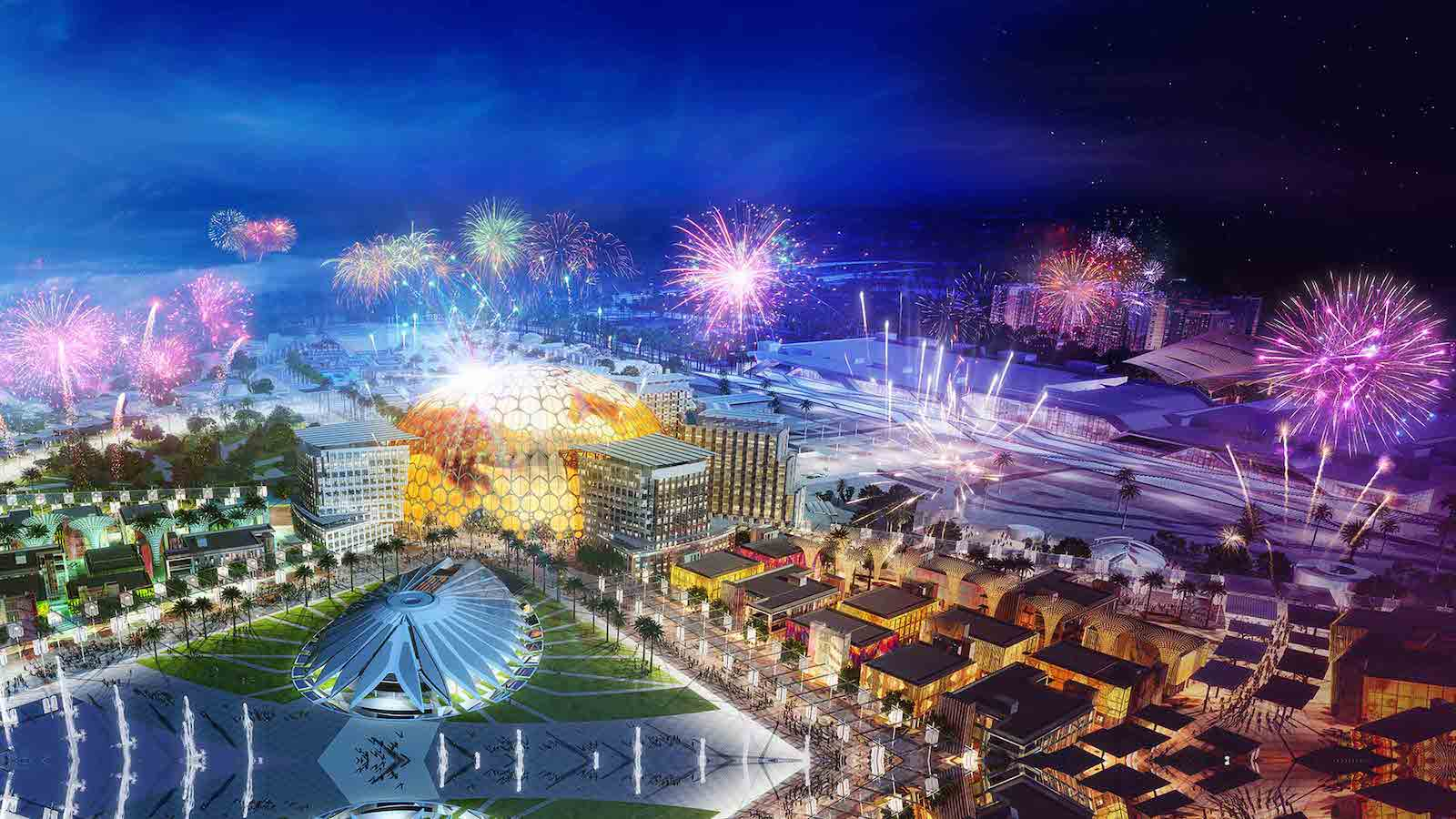 Expo 2020 dubai-fireworks at night blooloop