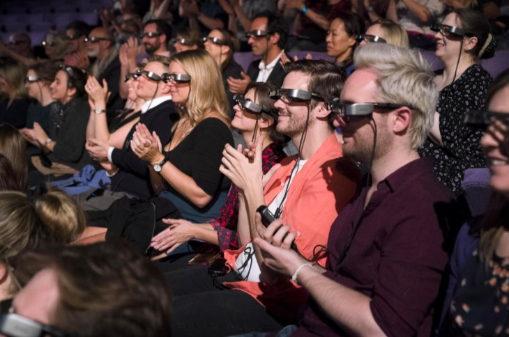 Visitors using Epson smart glasses at National Theatre