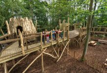natural playground equipment at Skelf Island, Castle Howard