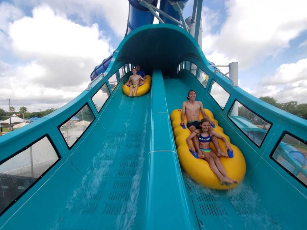 ProSlide guests on dueling water coaster at Splashway
