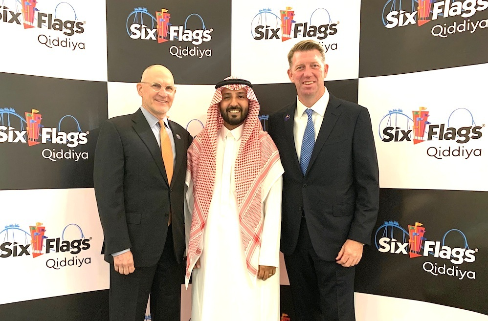 Left to right: Qiddiya CEO and chief of staff Mike Reininger and Faisal Al Moither with David McKillips, president of international development for Six Flags