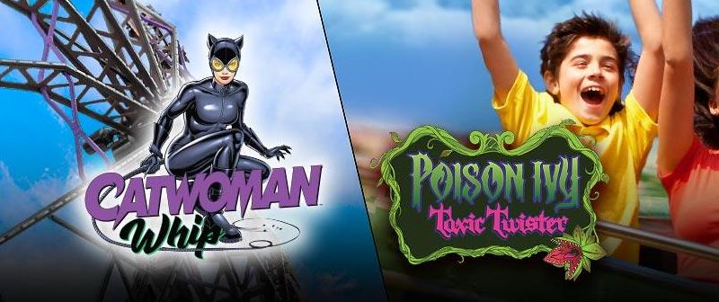 six flags catwoman whip and poison ivy toxic twister